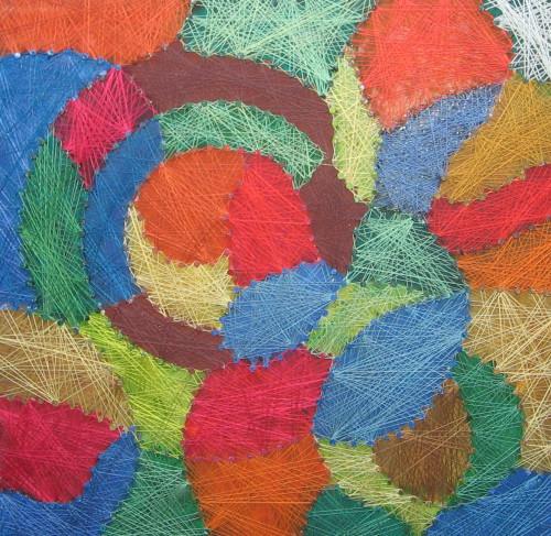 Alessandro Avarello - Il Vortice - Fili di seta intrecciati su tavola con chiodi - 40x40