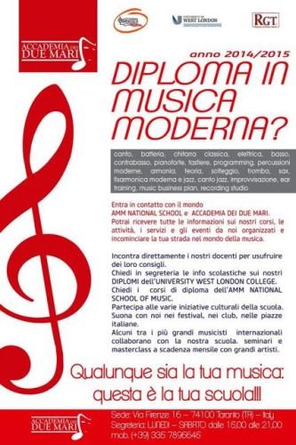 Locandina del diploma in musica moderna