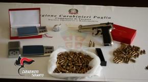 TARANTO: OPERAZIONE DEI CARABINIERI. SEQUESTRATE PISTOLA, MUNIZIONI  E DROGA